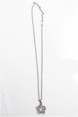 Цепочка с кулоном  цветочек 4012 цвет серебра - женская одежда, бижутерия оптом. Фото - look-and-buy.com