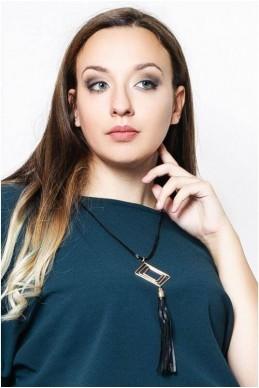 Колье 4032 с экокожей - женская одежда, бижутерия оптом. Фото - look-and-buy.com