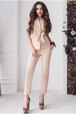 Костюм в деловом стиле  Луиза, бежевый - женская одежда, бижутерия оптом. Фото - look-and-buy.com
