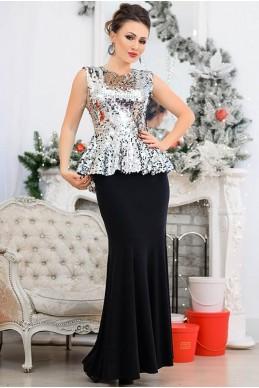 Серебристый нарядный костюм Франческа - женская одежда, бижутерия оптом. Фото - look-and-buy.com