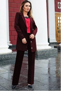 Костюм с брюками Николас бордовый - женская одежда, бижутерия оптом. Фото - look-and-buy.com