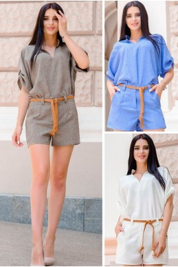 572bfb9f47c3076 Костюм с шортами Эрнес лен - женская одежда, бижутерия оптом. Фото - look-