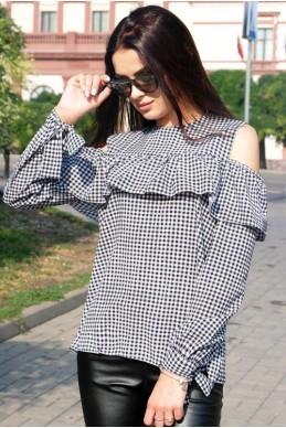 """Блузка в клетку """"Диамант"""", черный  женская одежда оптом от производителя. Фото - Доставка по СНГ - look-and-buy.com"""