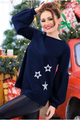 Свободная блузка Флер, темно - синий - женская одежда, бижутерия оптом.  Фото - 2e1a67675d4