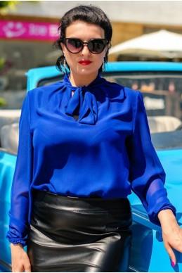 """Офисная блузка """"Piano"""", электрик - женская одежда, бижутерия оптом. Фото - look-and-buy.com"""