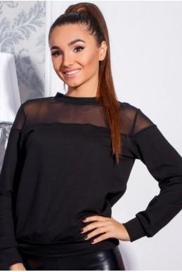 Cвитшот черный с сеточкой Ненси - женская одежда, бижутерия оптом. Фото - look-and-buy.com