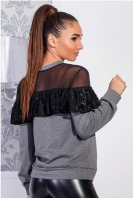 Блузка с воланом  Летиция серый - женская одежда, бижутерия оптом. Фото - look-and-buy.com