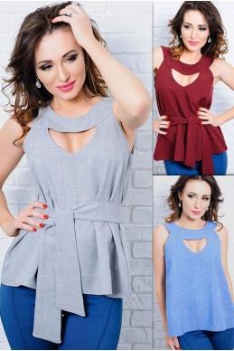 Летняя льняная блузка Джулия - женская одежда, бижутерия оптом. Фото - look-and-buy.com