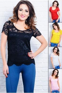 Летняя гипюровая блузка Кристина - женская одежда, бижутерия оптом. Фото - look-and-buy.com