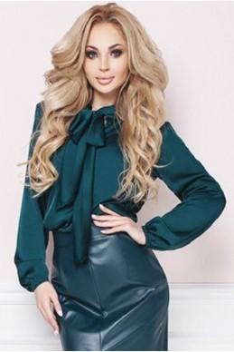 Шелковая офисная блузка ЭМИЛИЯ изумрудный - женская одежда, бижутерия оптом. Фото - look-and-buy.com