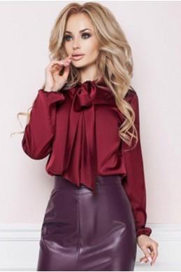 Бордовая блузка из шелка  ЭМИЛИЯ  - женская одежда, бижутерия оптом. Фото - look-and-buy.com
