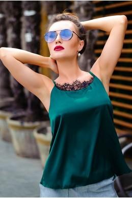 Шелковая майка изумрудного цвета Жатем   - женская одежда, бижутерия оптом. Фото - look-and-buy.com