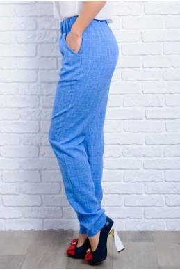 Голубые легкие женские брюки  Крит  - женская одежда, бижутерия оптом. Фото - look-and-buy.com