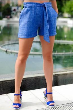 Классические шорты с отворотом Гаванна  голубые - женская одежда, бижутерия оптом. Фото - look-and-buy.com