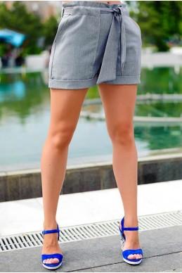 Льняные летние шорты Гаванна  серые - женская одежда, бижутерия оптом. Фото - look-and-buy.com