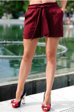 Бордовые женские шорты Гаванна  - женская одежда, бижутерия оптом. Фото - look-and-buy.com