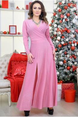 Розовое платье в пол Валери - женская одежда, бижутерия оптом. Фото - look-and-buy.com