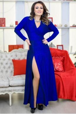 Модное платье с люрексом Валери, электрик - женская одежда, бижутерия оптом. Фото - look-and-buy.com