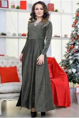 Длинное платье с люрексом Валери, золото - женская одежда, бижутерия оптом. Фото - look-and-buy.com