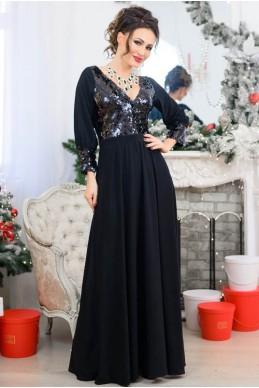 Черное платье в пол Жасмин - женская одежда, бижутерия оптом. Фото - look-and-buy.com