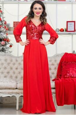 Платье красного  цвета  Жасмин - женская одежда, бижутерия оптом. Фото - look-and-buy.com