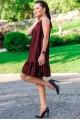 """Кожаный сарафан """"Сицилия"""", бордовый - женская одежда, бижутерия оптом. Фото - look-and-buy.com"""