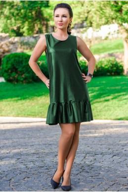 """Платье-сарафан экокожа """"Сицилия"""", изумрудный - женская одежда, бижутерия оптом. Фото - look-and-buy.com"""