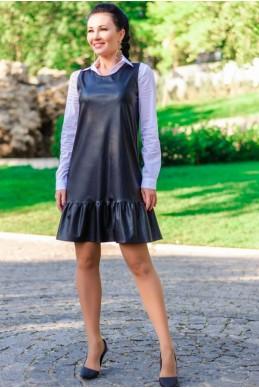 """Платье черное """"Сицилия"""" экокожа - женская одежда, бижутерия оптом. Фото - look-and-buy.com"""