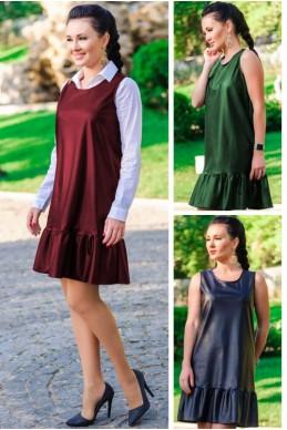 """Кожаный сарафан """"Сицилия""""   женская одежда оптом от производителя. Фото - Доставка по СНГ - look-and-buy.com"""
