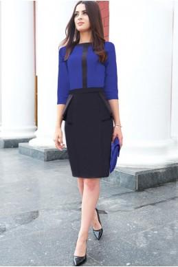 """Платье до колена """"Биатрис"""", электрик - женская одежда, бижутерия оптом. Фото - look-and-buy.com"""