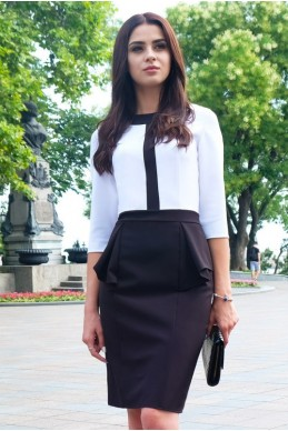 """Платье офисное """"Биатрис"""", черно-белое - женская одежда, бижутерия оптом. Фото - look-and-buy.com"""