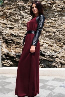 """Платье в пол """"Габриэлла"""", бордовое - женская одежда, бижутерия оптом. Фото - look-and-buy.com"""