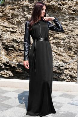 """Черное платье в пол """"Габриэлла"""" - женская одежда, бижутерия оптом. Фото - look-and-buy.com"""