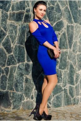 """Нарядное платье """"Infiniti"""", электрик - женская одежда, бижутерия оптом. Фото - look-and-buy.com"""