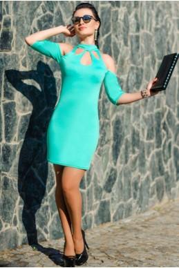 """Трикотажное платье """"Infiniti"""", ментол - женская одежда, бижутерия оптом. Фото - look-and-buy.com"""