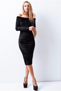 """Черное велюровое платье """"Ларнака """" - женская одежда, бижутерия оптом. Фото - look-and-buy.com"""