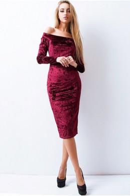 """Велюровое платье """"Ларнака """", бордовый - женская одежда, бижутерия оптом. Фото - look-and-buy.com"""