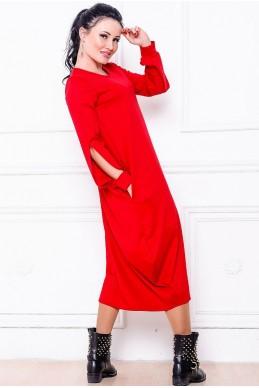 """Красное свободное платье  """"Доменик"""" - женская одежда, бижутерия оптом. Фото - look-and-buy.com"""