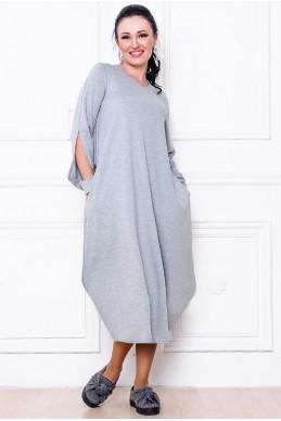 """Свободное платье  """"Доменик"""" серый - женская одежда, бижутерия оптом. Фото - look-and-buy.com"""