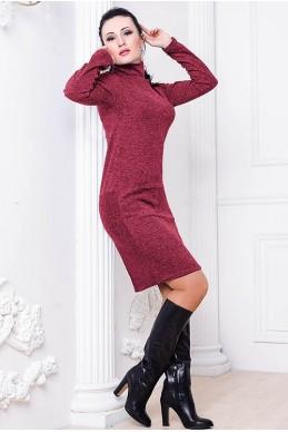 Платье Шопен Ангора бордовый - женская одежда, бижутерия оптом. Фото - look-and-buy.com