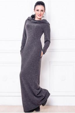 Платье макси Chelsea графит - женская одежда, бижутерия оптом. Фото - look-and-buy.com