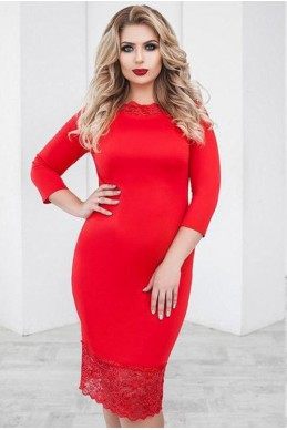 Красное платье Ясмина 48-60 - женская одежда, бижутерия оптом. Фото - look-and-buy.com