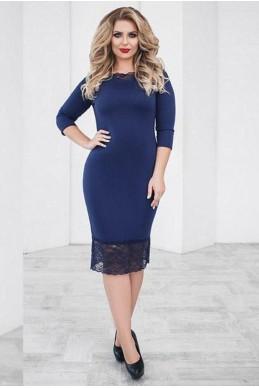 Батальное нарядное платье  Ясмина темно-синий - женская одежда, бижутерия оптом. Фото - look-and-buy.com