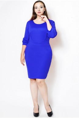 """Платье офисное батал """"CAVALLI"""" электрик - женская одежда, бижутерия оптом. Фото - look-and-buy.com"""