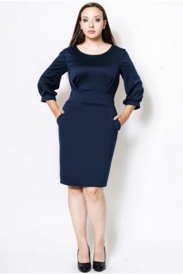 """Платье для офиса батал """"CAVALLI"""" темно-синее - женская одежда, бижутерия оптом. Фото - look-and-buy.com"""