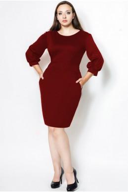 """Бордовое Платье """"CAVALLI"""" БАТАЛ - женская одежда, бижутерия оптом. Фото - look-and-buy.com"""