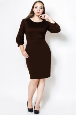 """Платье строгое""""CAVALLI"""" шоколадный - женская одежда, бижутерия оптом. Фото - look-and-buy.com"""