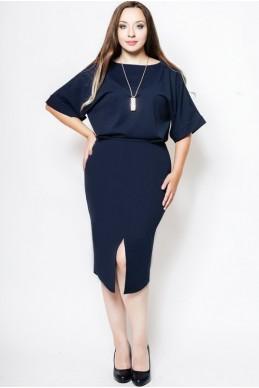 """Платье батал """"Маристелла"""" синий - женская одежда, бижутерия оптом. Фото - look-and-buy.com"""