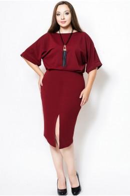 """Платье большого размера """"Маристелла"""" бордо - женская одежда, бижутерия оптом. Фото - look-and-buy.com"""