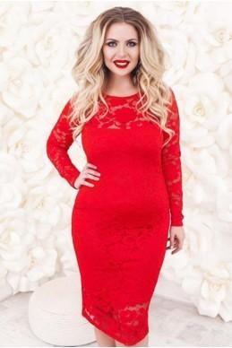"""Нарядное платье батал """"Белиссимо """" красный - женская одежда, бижутерия оптом. Фото - look-and-buy.com"""